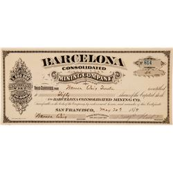 Barcelona Consolidated Mining Company Stock Certificate  (100931)