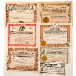 Seven Belmont, Nevada Mining Stock Certificates  (101576)