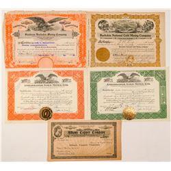 Buckskin, Nevada Mining Stock Certificates  (101581)