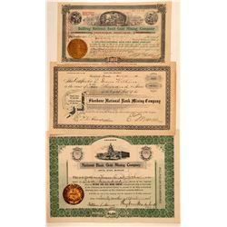 """National Bank"" Bullfrog, Nevada Mining Stock Certificate Trio  (101633)"