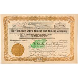 Bullfrog Apex Mining and Milling Co. Stock Certificate  (101586)