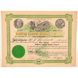 Bullfrog Central Mining Company Stock Signed by Wingfield  (101584)