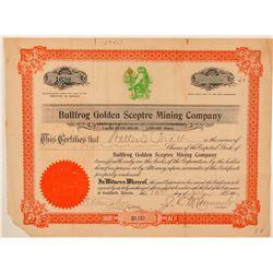 Bullfrog Golden Sceptre Mining Company Certificate  (101590)