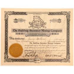 Bullfrog Steinway Mining Company Stock Certificate  (102185)