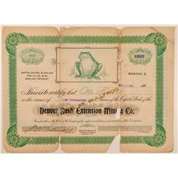 Denver Rush Extension Mining Co. Stock Certificate  (101596)