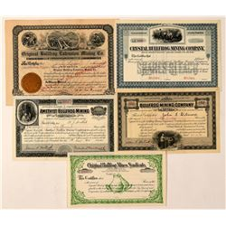 Five Different Bullfrog, Nevada Mining Stock Certificates  (101627)