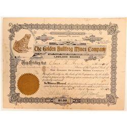 Golden Bullfrog Mines Company Stock Certificate  (102183)
