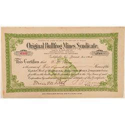 Original Bullfrog Mines Syndicate Stock Certificate, 1906  (101589)