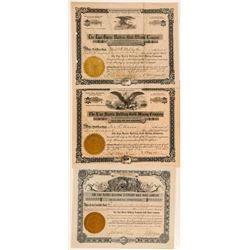 Three Different Lige Harris Bullfrog Mining Stock Certificates  (101582)