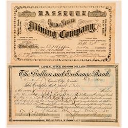Two Carson City Stock Certificates: Mining & Banking  (100825)
