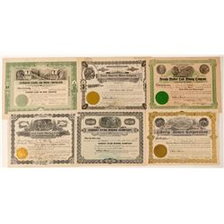 Six Different Cherry Creek, Nevada Mining Stock Certificates  (102163)