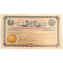 Mountain Cedar Mining & Milling Co. Stock Certificate  (102180)