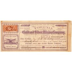 Virginia Gold & Silver Mining Co. Stock Certificate--Number 1  (100981)
