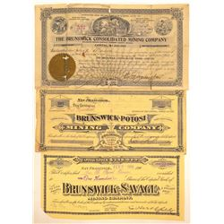 """Brunswick"" Comstock Mining Stock Certificates  (102188)"
