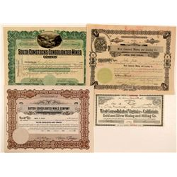 Four Different Comstock Mining Stock Certificates  (101609)