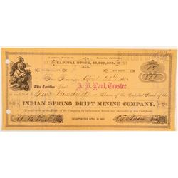 Indian Spring Drift Mining Co. Stock Issued & Signed by Almarin B. Paul--Key Comstock Figure  (10091