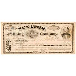 Senator Silver Mining Company Stock Certificate  (100730)