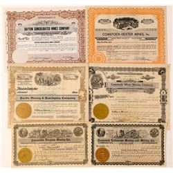 Six Comstock Mining Stock Certificates  (101610)