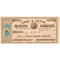 Cook & Geyer Mining Company Stock Certificate  (100734)