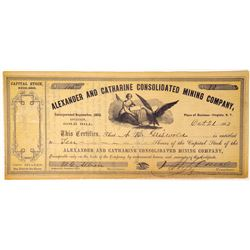 Alexander and Catherine Consolidated Mining Company Stock  (91921)