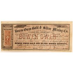 Bowen Owen Gold & Silver MIning Company Stock - NUMBER 1 to BOWEN  (91926)