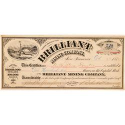 Brilliant Mining Company Stock Certificate   (100916)