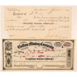Bullion Mining Company Stock Certificate (GT Brown)  (100824)