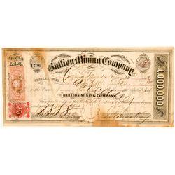Bullion Mining Company Stock Certificate Signed by John Mackay  (100726)