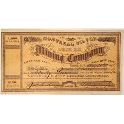 Montreal Silver Mining Company Stock - Signed by Yerington  (91924)
