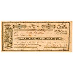 Monumental Mining Co. Stock Certificate  (100732)