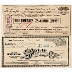 Two Gold Hill, Nevada Mining Stock Certificates  (101611)