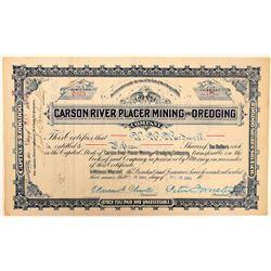 Carson River Placer Mining & Dredging Co. Stock Certificate  (101615)