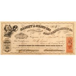 Bajazet & Golden Era Cons. Gold & Silver Mining Co. Stock  (100928)