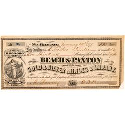 Beach & Paxton Gold & Silver Mining Co. Stock (GT Brown Lith.)  (100919)