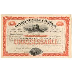Sutro Tunnel Company Stock Certificate  (91818)
