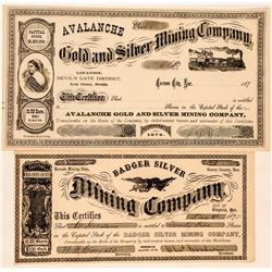 Two Different Virginia City Mining Stock Certificates  (100826)