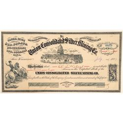 Union Consolidated Silver Mining Co. Stock Certificate to WS Hobart  (100877)