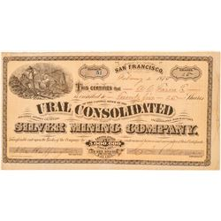 Ural Cons. Silver Mining Co. Stock Certificate (GT Brown Lith.)  (100959)