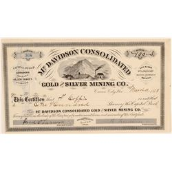 Mt. Davidson Consolidated Gold & Silver Mining Co. Stock Certificate  (91841)