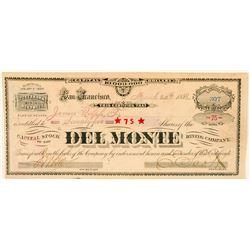 Del Monte Mining Company Stock Certificate  (91867)