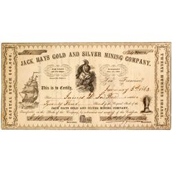 Jack Hays Gold and Silver Mining Company Stock, NUMBER 1  (82030)