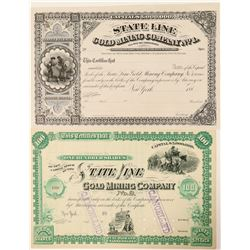 Two Different State Line Gold Mining Co. Stock Certificates  (91541)