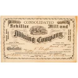 Consolidated Schiller Mill & Mining Co. Stock Certificate (Belleville, NV)  (100965)
