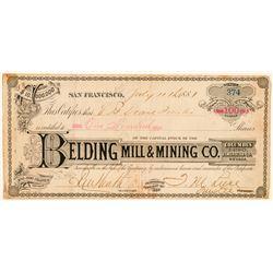 Belding Mill & Mining Co. Stock Certificate  (100923)