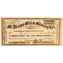 Mt. Diablo Mill & Mining Co. Stock Certificate  (91858)