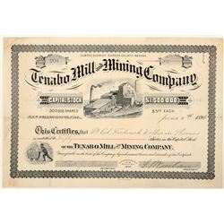 Tenabo Mill & Mining Co. Stock Certificate Signed by S. Wenban  (91544)