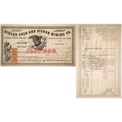 Bixler Gold & Silver Mining Co. Stock Certificate, Gold Hill, Nevada Territory, 1863  (60619)