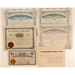 """Nevada Goldfield"" Mining Stock Certificates  (102536)"