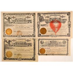 """Red Top"" Goldfield Mining Stock Certificates   (102511)"
