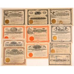 Eleven Goldfield, Nevada Mining Stock Certificates  (102517)